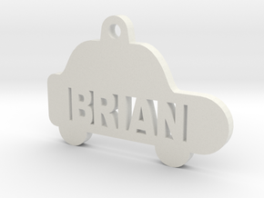 Car ID Tag - Brian in White Natural Versatile Plastic