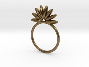 Demi Flower Ring in Polished Bronze