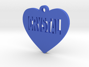 Heart Pet ID Tag - Crystal in Blue Strong & Flexible Polished