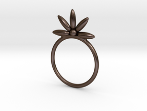 Flower Stacking Ring in Polished Bronze Steel