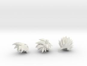 Custom Teen Gohan Inspired Hair for Lego in White Natural Versatile Plastic