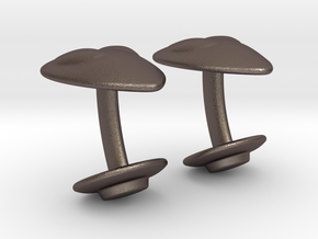 Alien Abductor Cufflinks in Polished Bronzed Silver Steel