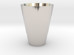 Gold Beer Pong Cup in Rhodium Plated Brass