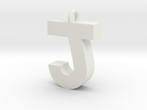 Alphabet (J) in White Natural Versatile Plastic