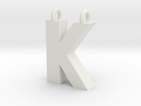 Alphabet (K) in White Natural Versatile Plastic