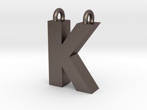 Alphabet (K) in Polished Bronzed Silver Steel