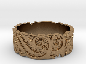 Ocean Kelp Forest Ring in Natural Brass