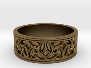Gothic Pinwheel Tracery Ring in Natural Bronze