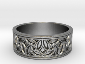 Gothic Pinwheel Tracery Ring in Natural Silver