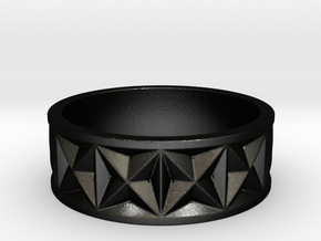 Gothic Star Geometry Ring in Matte Black Steel