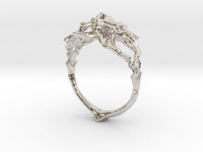 Ring Nouveau03 V02 in Rhodium Plated Brass