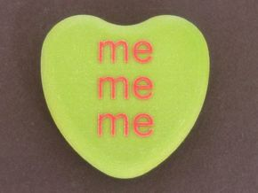 """Candy Heart """"me me me"""" - Green/Red in Full Color Sandstone"""