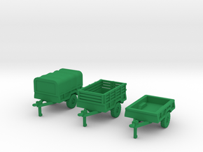M101a2 Trailer Set in Green Processed Versatile Plastic: 1:144