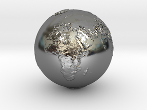Earth Relief in Fine Detail Polished Silver