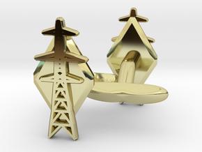 L6 Pylon Cufflinks in 18k Gold Plated Brass