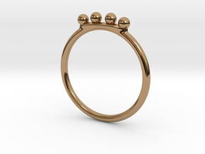 4 Bead Stacking Ring  in Polished Brass