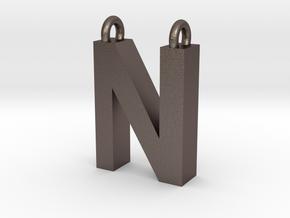 Alphabet (N) in Polished Bronzed Silver Steel