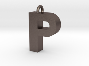 Alphabet (P) in Polished Bronzed Silver Steel