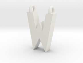 Alphabet (W) in White Natural Versatile Plastic