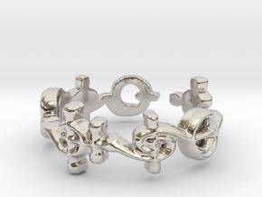 """T'hy'la"" Vulcan Script Ring - Cut Style in Rhodium Plated Brass: 7 / 54"