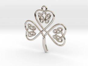 Shamrock Knot Pendant in Rhodium Plated Brass