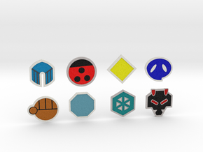 Johto Pokemon Badges in Full Color Sandstone