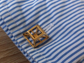 Geometric cufflinks in Polished Brass