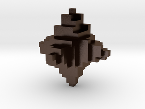 Metal Pixelated Desk Toy in Polished Bronze Steel