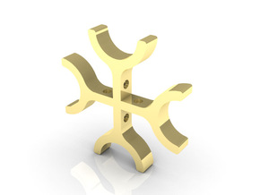 Cross Pendant 1 in Polished Gold Steel