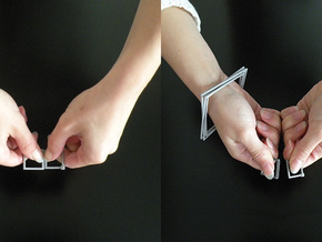 Squared Bracelet - 6cm XL - And Connecting Rings - in Metallic Plastic