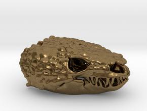 Gila Monster Skull Pendant -  30mm in Natural Bronze