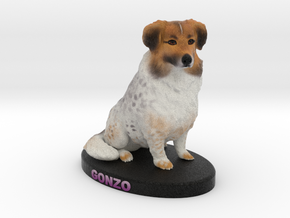 Custome Dog Figurine - Gonzo in Full Color Sandstone