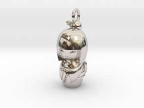 Japanese Doll in Rhodium Plated Brass