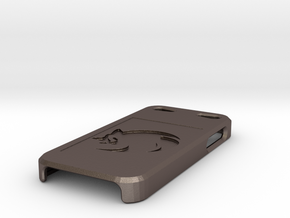Sonic Imprinted Logo iPhone 5 Case in Polished Bronzed Silver Steel