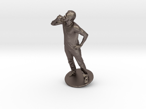 JJ Williams eating a Hot Dog in Polished Bronzed Silver Steel