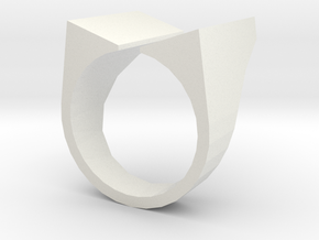 Open Top Ring in White Natural Versatile Plastic