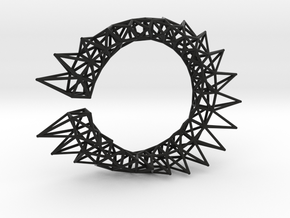 Spiked Twisted Bracelet01 in Black Natural Versatile Plastic