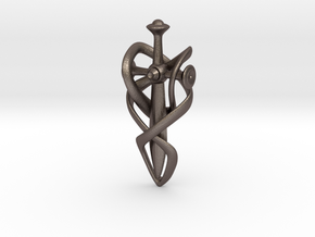 Journey Pendant  in Polished Bronzed Silver Steel