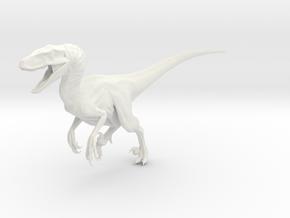 Dinosaur Raptor 25 cm Running V1 in White Natural Versatile Plastic
