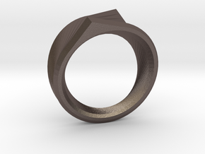 Qortex Ring in Polished Bronzed Silver Steel: 11 / 64