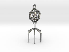 Bacteriophage Virus Pendant in Fine Detail Polished Silver