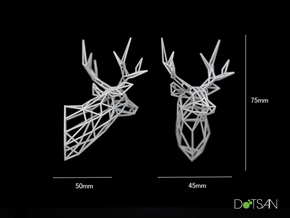 Small Stag Head 75mm Facing Left 1:12 Scale in White Natural Versatile Plastic