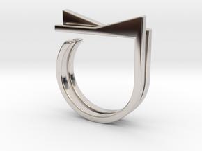 Adjustable ring. Basic set 4. in Rhodium Plated Brass