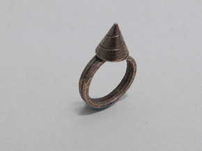 Drill-ring (US Size#6) in Polished Bronzed Silver Steel