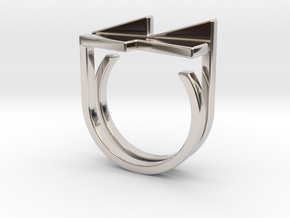 Adjustable ring. Basic set 7. in Rhodium Plated Brass
