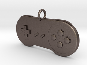 Super Nintendo Controller pendant in Polished Bronzed Silver Steel