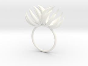 Double Bloom Ring size P1/2 in White Processed Versatile Plastic