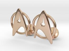 StarTrek Cuffliknks in 14k Rose Gold Plated Brass