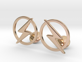 Flash Cufflinks in 14k Rose Gold Plated Brass