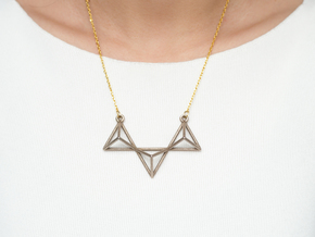 Tetrahedron Pendant in Polished Bronzed Silver Steel